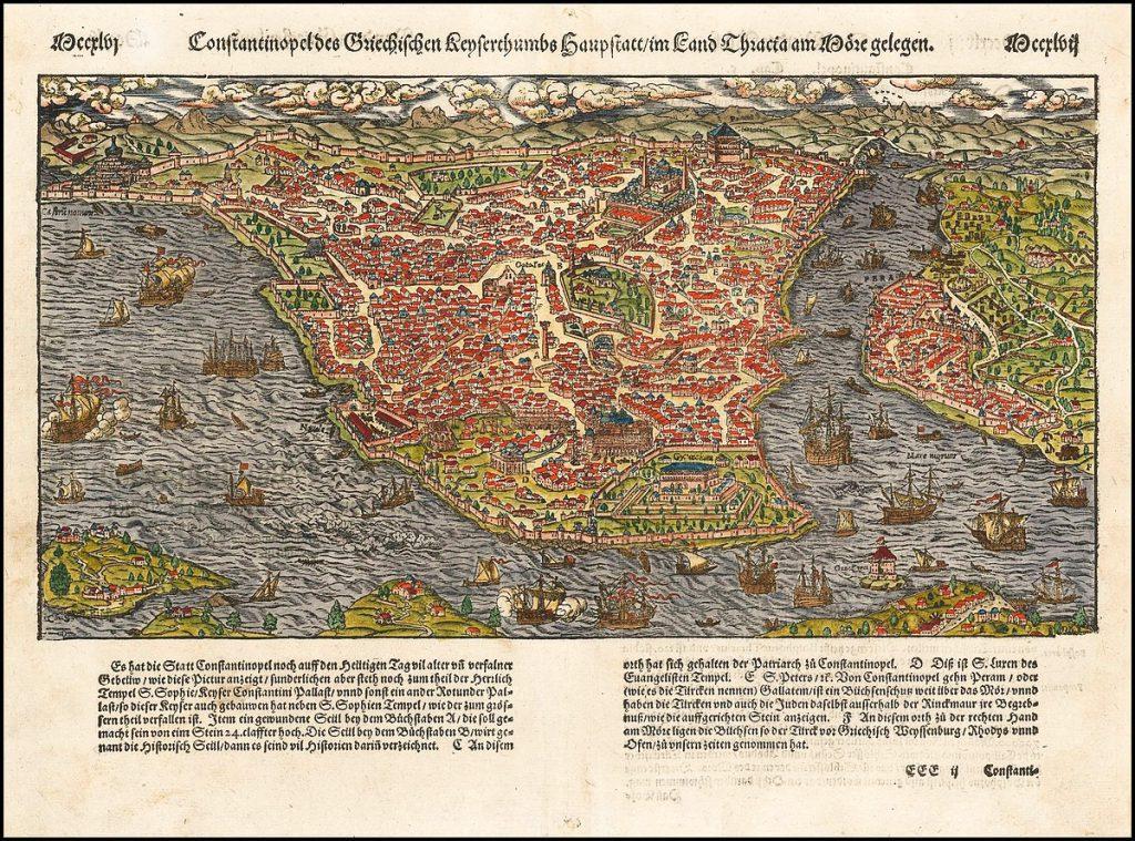 Eski İstanbul Haritası Sebastian Munster - 1570