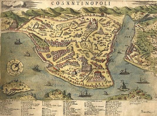 Eski İstanbul Haritası Simon Pinargenti - 1573